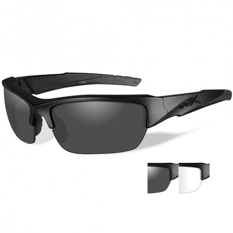 Wiley X Valor Sunglasses - Smoke Grey-Clear Lens - Matte Black Frame