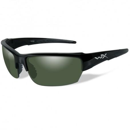 Wiley X Saint Polarized Sunglasses - Smoke Green Lens - Gloss Black Frame