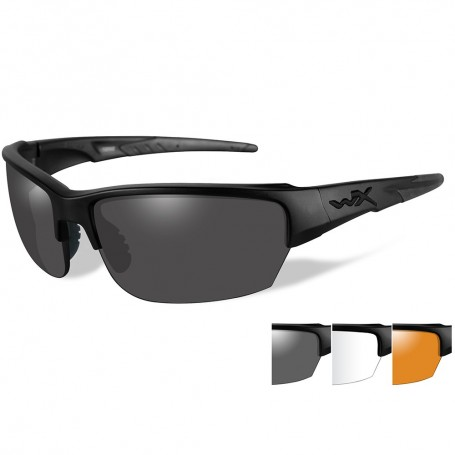 Wiley X Saint Sunglasses - Smoke Grey-Clear-Rust Lens - Matte Black Frame