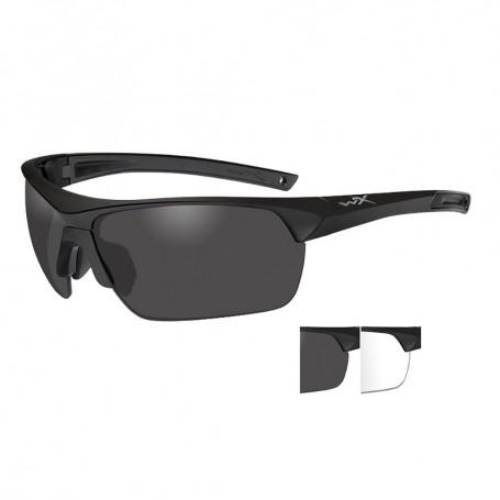 Wiley X Guard Advanced Sunglasses - Smoke Grey-Clear Lens - Matte Black Frame