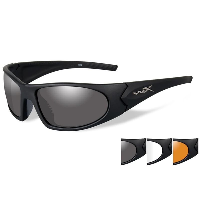 Wiley X Romer 3 Sunglasses - Smoke Grey-Clear-Rust Lens - Matte Black Frame