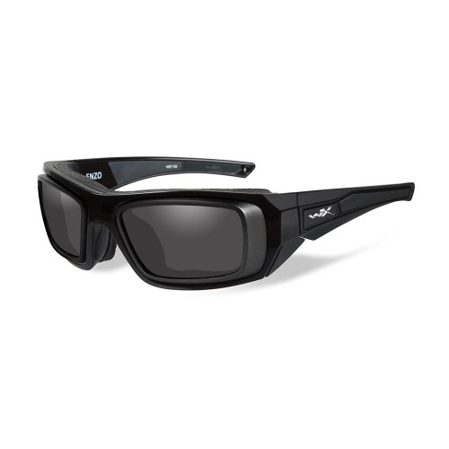 Wiley X Enzo Sunglasses - Smoke Grey Lens - Gloss Black Frame w-Rx Rim - Demo Lenses