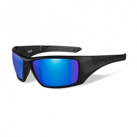Wiley X Nash Sunglasses - Polarized Blue Mirror Lens - Matte Black Frame
