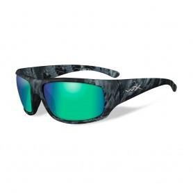Wiley X Omega Sunglasses - Polarized Emerald Mirror Lens - Kryptek Neptune Frame