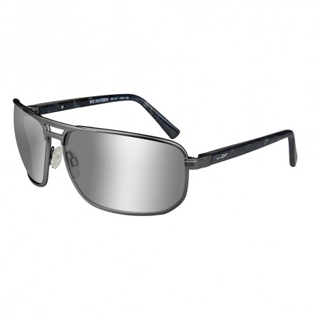 Wiley X Hayden Sunglasses - Polarized Silver Flash Lens - Gunmetal Frame