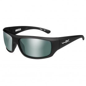 Wiley X Omega Sunglasses - Polarized Platinum Flash Green Lens - Matte Black Frame