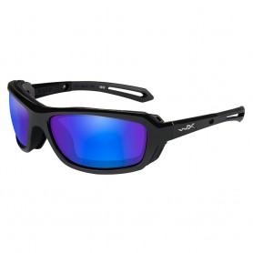 Wiley X Wave Sunglasses - Polarized Blue Mirror Green Lens - Gloss Black Frame