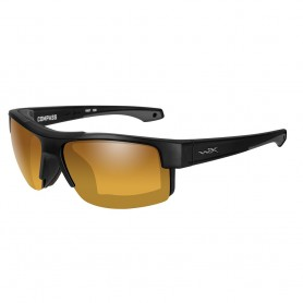 Wiley X Compass Sunglasses - Polarized Venice Gold Mirror Lens - Matte Black Frame