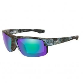 Wiley X Compass Sunglasses - Polarized Emerald Mirror Lens - Kryptek Neptune Frame