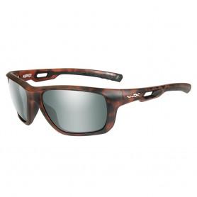 Wiley X Aspect Sunglasses - Polarized Green Platinum Flash Lens - Matte Demi Frame