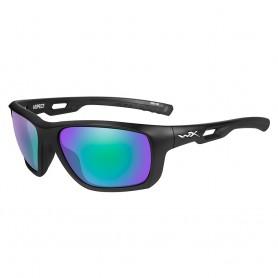 Wiley X Aspect Sunglasses - Polarized Emerald Mirror Lens - Matte Black Frame