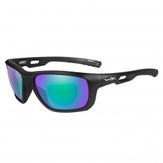 Wiley X Aspect Sunglasses - Polarized Emerald Mirror Lens - Matte Black Frame