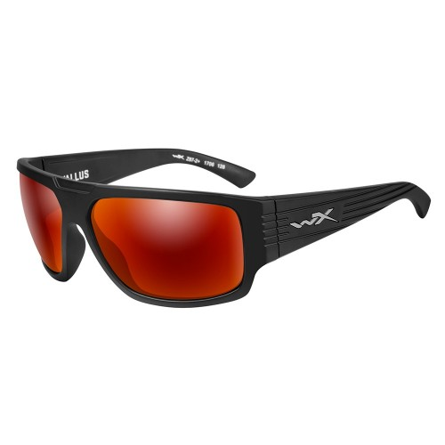 Wiley X Vallus Sunglasses - Polarized Crimson Mirror Lens - Matte Black Frame