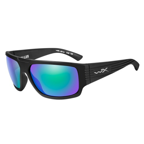 Wiley X Vallus Sunglasses - Polarized Emerald Mirror Lens - Matte Black Frame