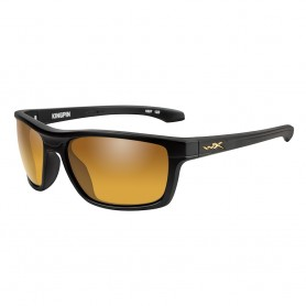 Wiley X Kingpin Sunglasses - Polarized Venice Gold Mirror Lens - Matte Black Frame