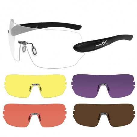 Wiley X Detection Sunglasses - Clear- Yellow- Orange- Purple Copper Lens - Matte Black Frame