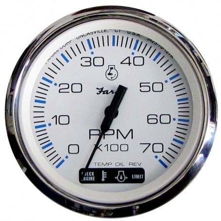 Faria Chesapeake White SS 4- Tachometer w-Suzuki Monitor - 7-000 RPM -Gas - Suzuki Outboard-