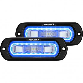 RIGID Industries SR-L Series Flush Mount Spreader Light - Black Housing - Blue Halo