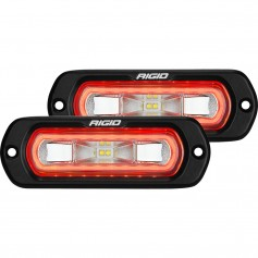 RIGID Industries SR-L Series Flush Mount Spreader Light - Black Housing - Red Halo