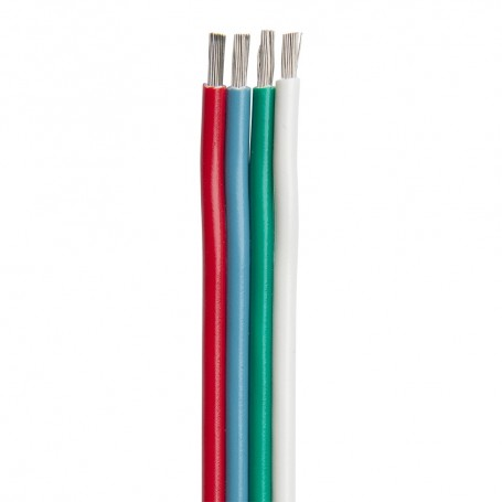 Ancor Flat Ribbon Bonded RGB Cable 14-4 AWG - Red- Light Blue- Green White - 100