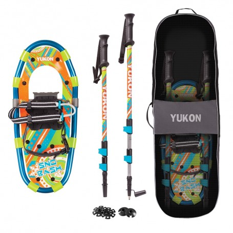 YUKON Sno-Bash Youth Showshoe Kit 7- x 16- - 100lbs Weight Capacity w-Snowshoes-Pair-- Poles Travel Bag