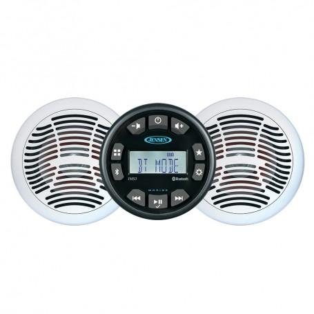 JENSEN JMS3SSPKG Marine Entertainment System w-AM-FM-USB Bluetooth Stereo Pair AMS620W Speakers