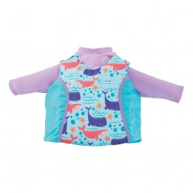 Puddle Jumper Kids 2-in-1 Life Jacket Rash Guard - Whales - 33-55lbs