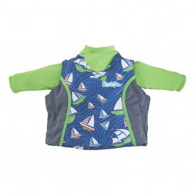 Puddle Jumper Kids 2-in-1 Life Jacket Rash Guard - Sailboards - 33-55lbs