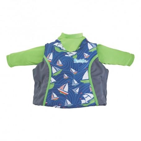 Puddle Jumper Kids 2-in-1 Life Jacket Rash Guard - Sailboards - 33-55lbs