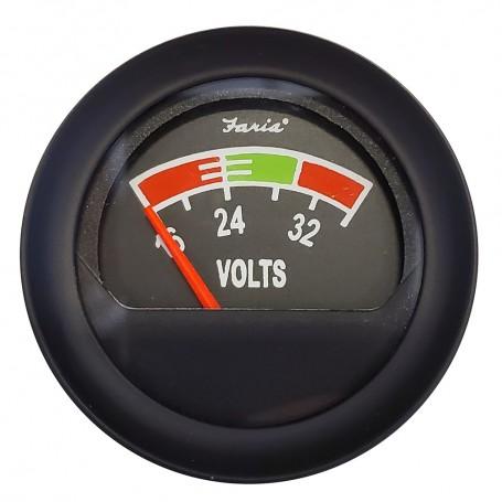 Faria 2- Voltmeter -16-36V- - Black Bezel w-Orange Pointer