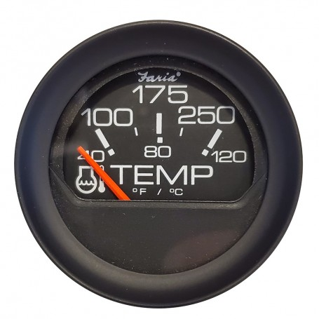 Faria 2- Water Temperature Gauge 100-200F - Black Bezel w-Orange Pointer