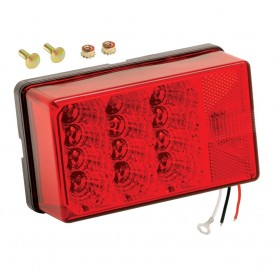 Wesbar 4- x 6- Waterproof LED 7-Function- Right-Curbside w-3 Wire 90 deg Pigtail Trailer Light
