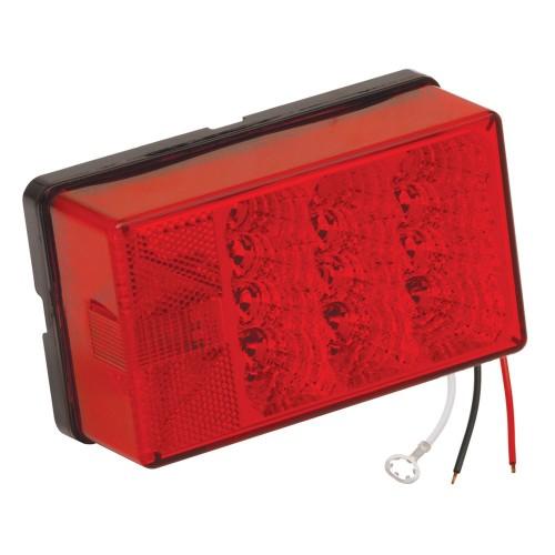 Wesbar 4- x 6- Waterproof LED 8-Function- Left-Roadside w-3 Wire 90 deg Pigtail Trailer Light