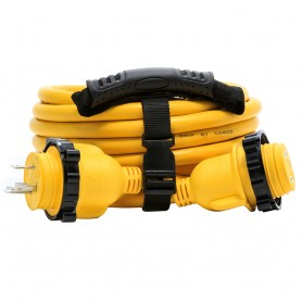 Camco 30 Amp Power Grip Marine Extension Cord - 25 M-Locking-F-Locking Adapter