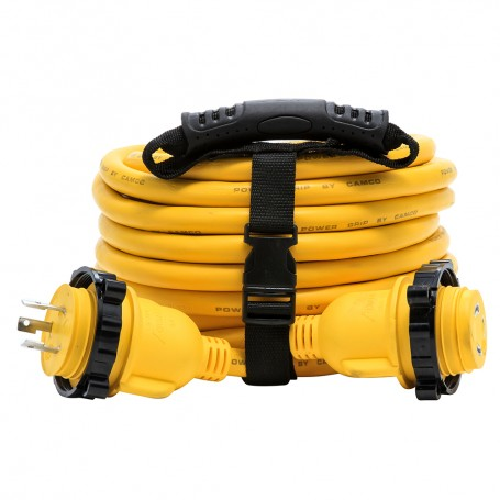 Camco 30 Amp Power Grip Marine Extension Cord - 35 M-Locking-F-Locking Adapter
