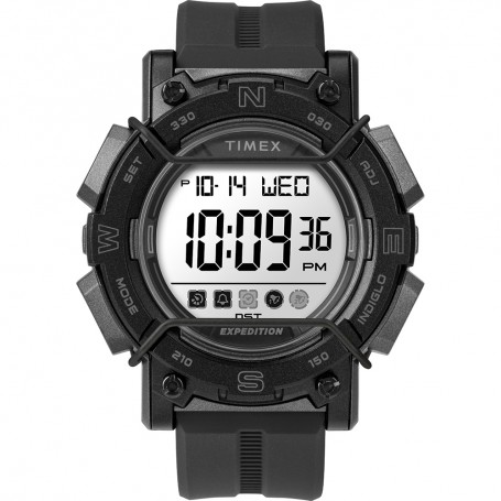 Timex Expedition Digital Face 47mm - White Screen w-Black Resin Strap