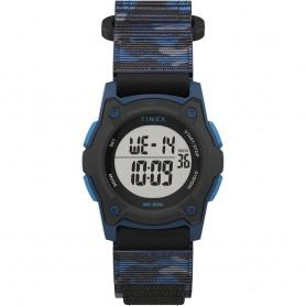 Timex Kids Digital 35mm Watch - Blue Camo w-Fastwrap Strap