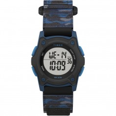 Timex Kids Digital 35mm Watch - Blue Camo w-Fastwrap Strap