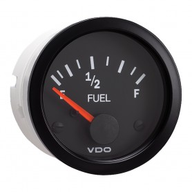 VDO 2-1-16- -52mm- Vision Fuel Gauge -E-1-2-F- Black Dial Bezel