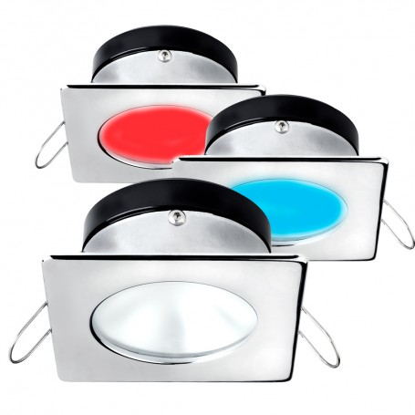 i2Systems Apeiron A1120 Spring Mount Light - Square-Round - Red- Warm White Blue - Polished Chrome