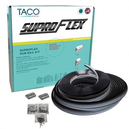 TACO SuproFlex Rub Rail Kit - Black w-Flex Chrome Insert - 1-6-H x -78-W x 60L