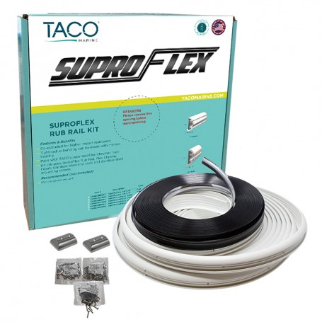 TACO SuproFlex Rub Rail Kit - White with Flex Chrome Insert - 2-H x 1-2-W x 60L