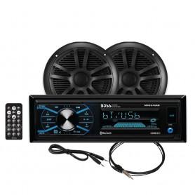 Boss Audio MCBK634B-6 Package w-MR634UAB- 2-MR6B Speakers MRANT10 Antenna - Black