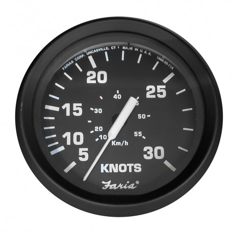 Faria 4- Speedometer 30 Knot f-Mechanical Pitot Tube - Euro Black