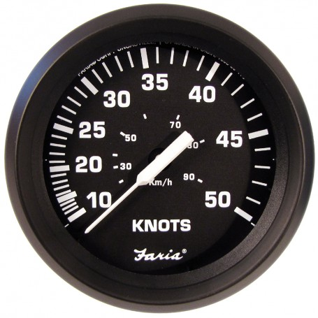 Faria 4- Speedometer 50 Knot - Chesapeake White - Stainless Steel Bezel