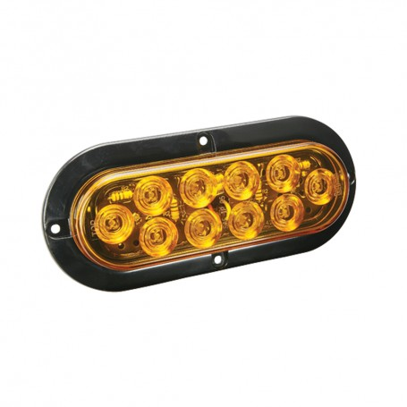 Wesbar LED Waterproof 6- Oval Surface Flange Mount Tail Light - Amber w-Black Flange Base