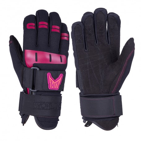 HO Sports Wakeboard Womens World Cup Gloves - Black-Pink - Medium