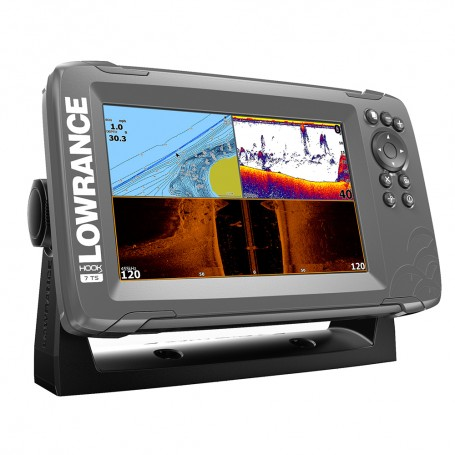 Lowrance HOOK-7 7- Chartplotter-Fishfinder TripleShot Transom Mount Transducer w-Built-In US Inland Charts