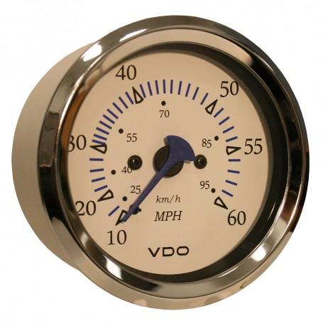 VDO Allentare White 60MPH 3-3-8- -85mm- Pitot Speedometer