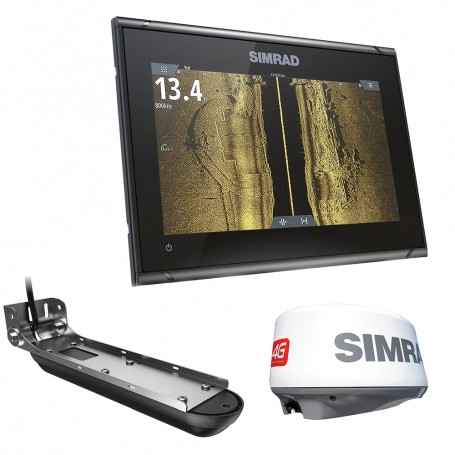 Simrad GO9 XSE Combo w-Active Imaging 3-in-1 Transom Mount Transducer- 4G Radar C-MAP Pro Chart